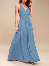 Vestido Maxi 2020 Azul Mulheres Lace Patch Mangas Vestido de Boho