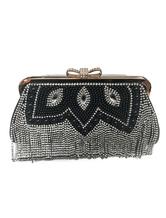 Vintage Wedding Clutches Black Fringe Party Handbags Beading Rhinestone Evening Bags Purse