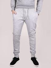 Men's Joggers Grey Zipper Punk Elastic Waistband Cotton Knit Leggings Sweat Pants