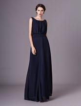Повседневный Длина пола Плиссированные вечернее платье атласная