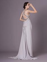 08e0c4e173 Exclusivas Vestido de noche de crepé plateado sin mangas con cuello en V  con cuentas cintura natural Milanoo