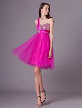 85a2170c7 Exclusivas Vestido de fiesta de color fucsia con escote a un solo hombro  Milanoo