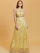 Evening Dresses Daffodil Backless Sash Sleeveless A Line Formal Dress