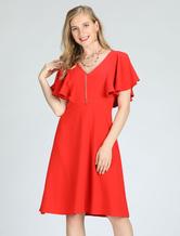 Red Skater Dress Short Sleeve V Neck Summer Midi Dress