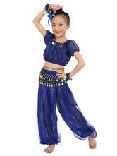 La danse du ventre Costume bleu Royal Kids à manches courtes en mousseline de soie  Déguisements Halloween