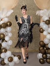 Great Gatsby Dress 1920s Fashion Vintage Style Black Sequined Tassels Flapper Girl Dress Vintage Costume Halloween