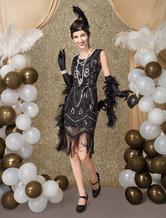Costume Holloween Vestiti Anni 20 per donne in tessuto con lustrini Vestito Flapper Nero Costumi Retro halloween lungo fino al ginocchio Halloween