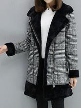 Plaid Wintermantel Faux Pelzkragen Long Slee Oversized Wollmantel mit Taschen
