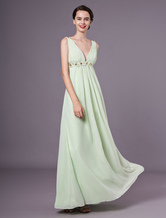 Sage V-neck Floor Length Chiffon Prom Dress