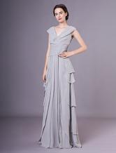 Graceful Gray V-Neck A-line Chiffon Mother of the Bride Dress Wedding Guest Dress