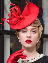 Rosso Vintage archetto piuma Costume retrò capelli accessori Carnevale