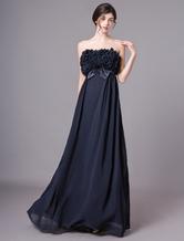 Abendkleider trägerlos Hochzeit A-Linie- Ballkleider Chiffon Formelle Kleider ärmellos mit Schnürung Dunkelmarineblau bodenlang