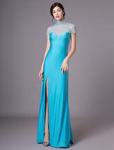 Vestido de noite oceano cor teal strass jóia pescoço bainha feminino  Milanoo