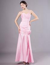 bfd0e362b Vestido damas rosa de tafetán estilo trompeta sirena con tirantes spaghetti  hasta el suelo