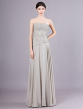 Silver A-line Sweetheart Neck Ruched Chiffon Mother of the Bride Dress