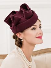 Бургундии шерсть шляпа женская лук завязывают витой элегантный костюм ретро шляпа Хэллоуин