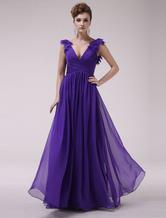Royal Purple Pleated V-Neck A-line Chiffon Grace Evening Dress  Milanoo