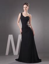 Vestido de fiesta de gasa negra con diamantes de imitación