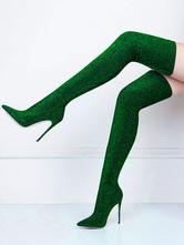 Эластичные высокие сапоги до бедра Женские однотонные сапоги из искусственного шелка с острым носком на шпильке Сапоги выше колена