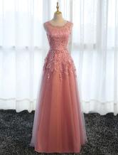 Длинные платья выпускного вечера Кружевные камеи Розовые платья партии Линия аппликации Tulle Maxi Формальное платье
