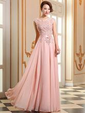 Платья выпускного вечера мягкие розовые кружевные аппликационные вечерние платья шифон без рукавов длиной до пола формальные платья
