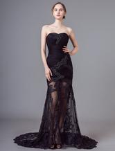 Celebrity Dresses Black Halter Sweetheart Sweep Net Venice Film Festival Dresses