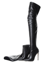 Black Thigh High Boots Womens Pointed Toe Stiletto Heel Over The Knee Boots