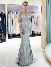 Evening Dresses Long Sleeve Light Grey Mermaid Beading Illusion Luxury Formal Gowns