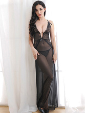 Black Gown Dress Set Lace Semi Sheer Backless Sexy Lingerie For Women