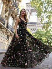 Черное платье макси с V-образным вырезом без рукавов с вышивкой из тюля