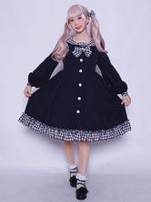 Classic Lolita Overcoat Plaid Ruffle Bow Black Lolita Coat