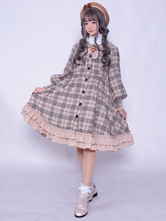 Classic Lolita Overcoat Plaid Ruffle Bow Button Up Lolita Wool Coat