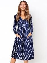 Vestido de manga larga para mujer Polka Dot Vintage con cuello en V Vestidos con botones