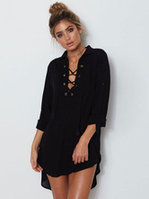Chiffon Black Dress Women Lace Up Summer Dress  High Low Beach Shift Dress