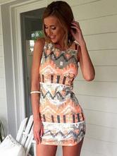 Женское летнее платье с этническим принтом без рукавов мини-платья