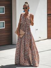Vestido largo Color ladrillo Moda Mujer sin mangas de rayón Vestidos con estampado de flores con abertura con cuello en V estilo moderno Verano