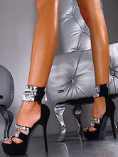 Schwarz Sexy Schuhe Frauen Plattform Offene Zehe Strass Reißverschluss Ankle Strap Sandalen High Heel Sandalen