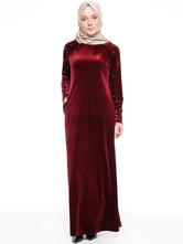 Maxi Abaya Dress Long Sleeve Round Neck Beaded Velour Kaftan Dress