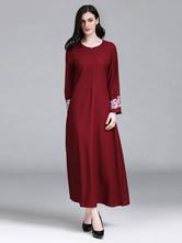 Oversized Abaya Dress Long Sleeve Round Neck Embroidered Kaftan Dress