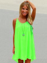 Frauen Sommerkleid Neongrün Ärmelloses Slipkleid Ausgeschnittenes Strandkleid