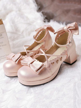 Sweet Lolita Pump Bow Sweetheart Cut Out Strappy Pink Chunky High Heel Lolita Shoes