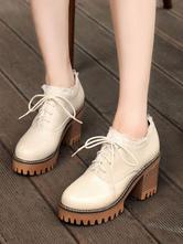 Chaussures Lolita classiques Chaussures à lacets Cholky à talons hauts en PU