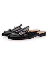 Mocasines negros de piel de buey hombres de cuero con punta redonda y detalle de hebilla sin respaldo Mule Shoes