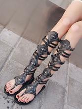 Sandales Femmes 2021 Noires Plates Orteil Nu Sandale Gladiateur Pour Femmes