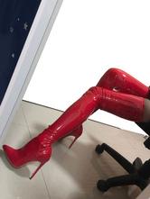 Red Sexy Botas Mulheres Apontou Toe Stiletto Calcanhar Coxa Botas Altas de Salto Alto Sobre O Botas Do Joelho