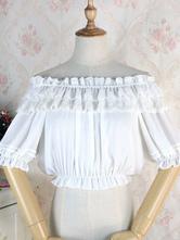Classic Lolita Blouse Lace Ruffle Chiffon White Lolita Top