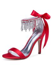 Red Wedding Shoes Satin Open Toe Rhinestones Bow High Heel Bridal Shoes