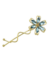 Acessórios de cabelo de mulheres liga de ouro flor forma strass hairpin