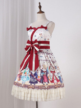 Classic Lolita JSK Dress Showa Bunny Print Bow Ruffle Lolita Jumper Skirt