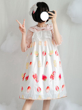 Sweet Lolita Outfit Fruit Print Ruffle Lolita JSK With Blouse